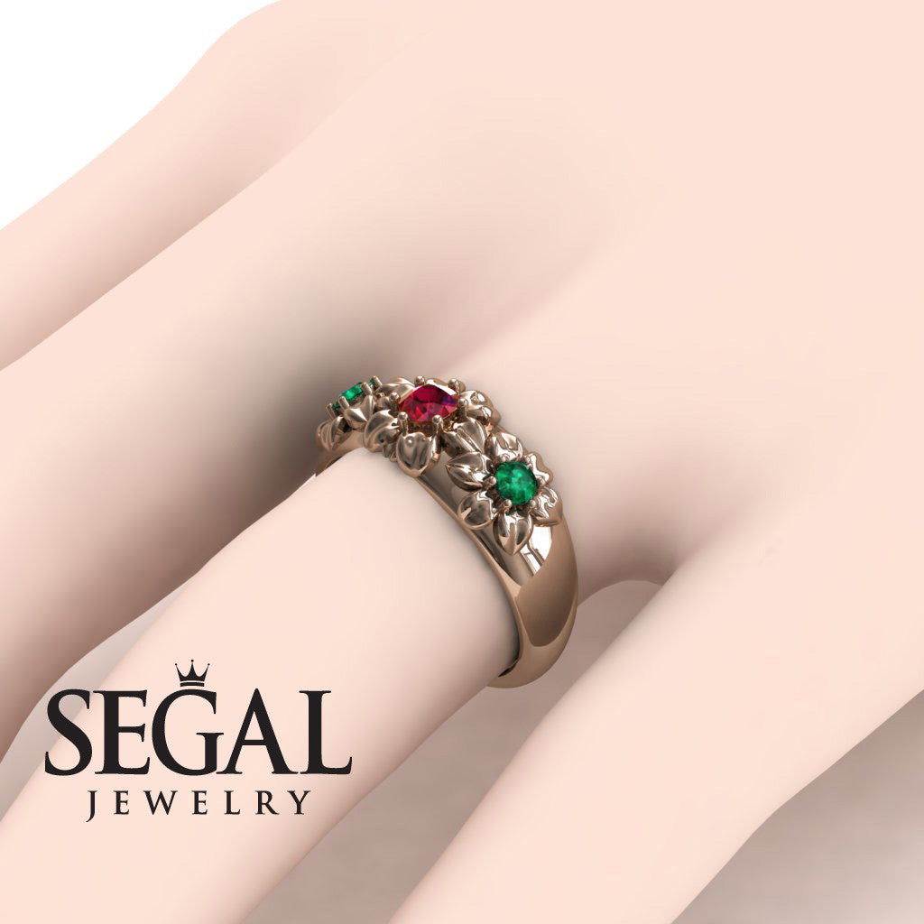 Three Stones And Flowers Ruby Ring- Sarah no. 8 – Segal Jewelry