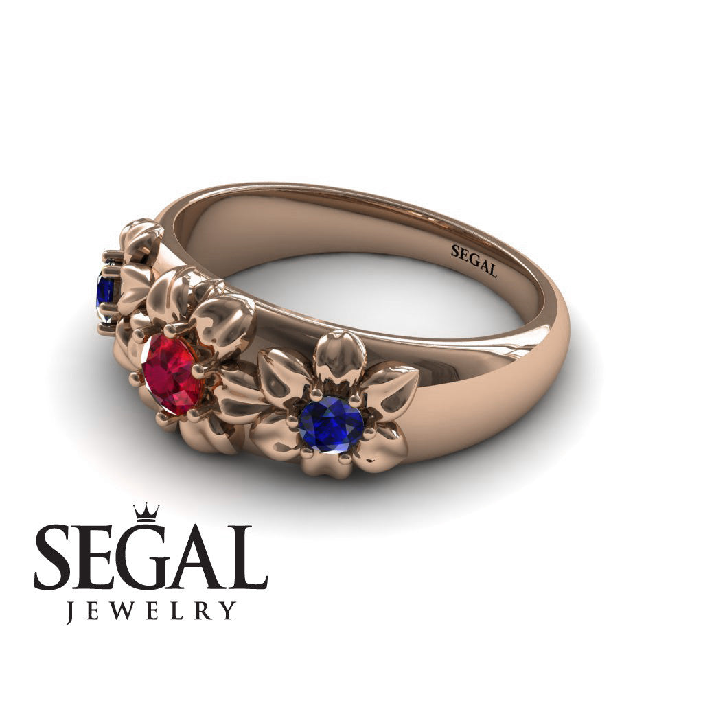 Three Stones And Flowers Ruby Ring- Sarah no. 5