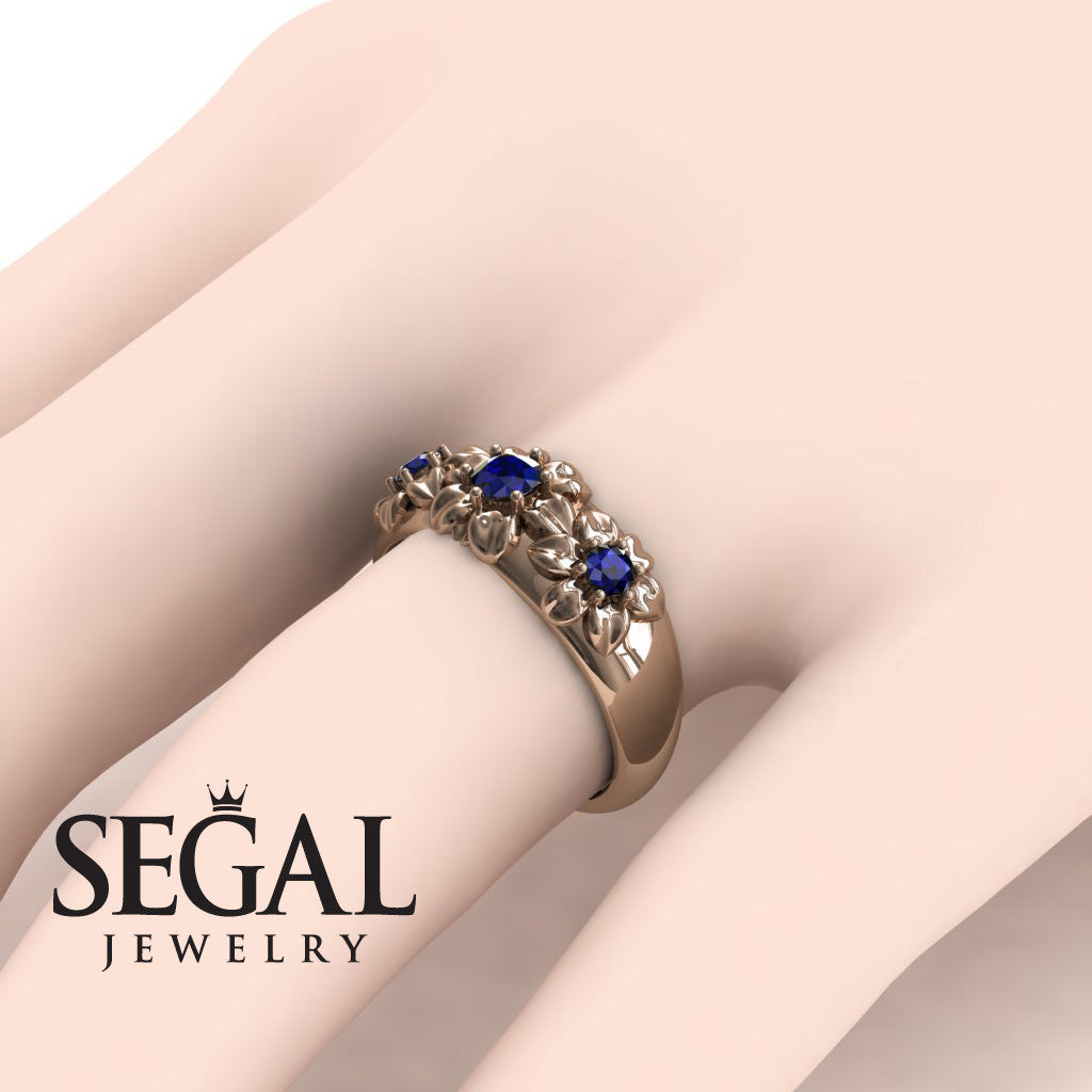 Three Stones And Flowers Blue Sapphire Ring- Sarah no. 14