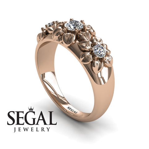 Three Stones And Flowers Diamond Ring- Sarah no. 2