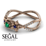 The Two Branch Flowers Green Emerald Ring- Annabelle no. 11