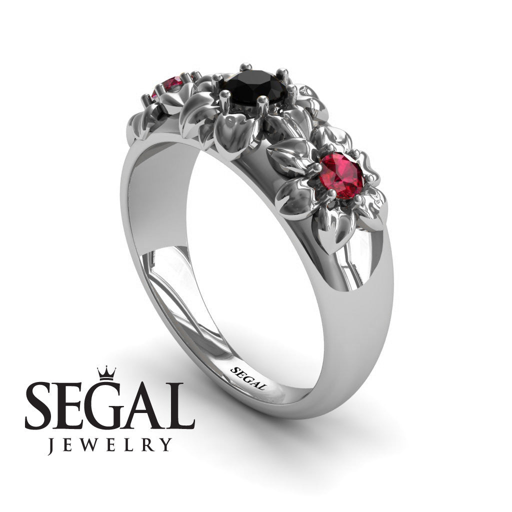 Three Stones And Flowers Black Diamond Ring- Sarah no. 12