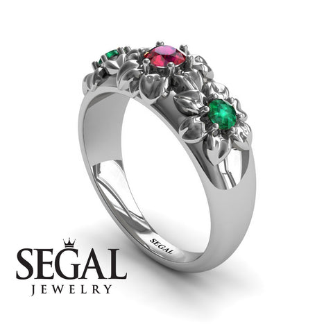 Three Stones And Flowers Rubby Ring- Sarah no. 9