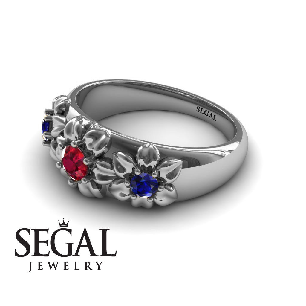 Three Stones And Flowers Ruby Ring- Sarah no. 6