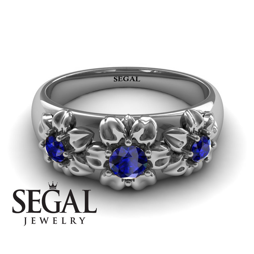 Three Stones And Flowers Blue Sapphire Ring- Sarah no. 15