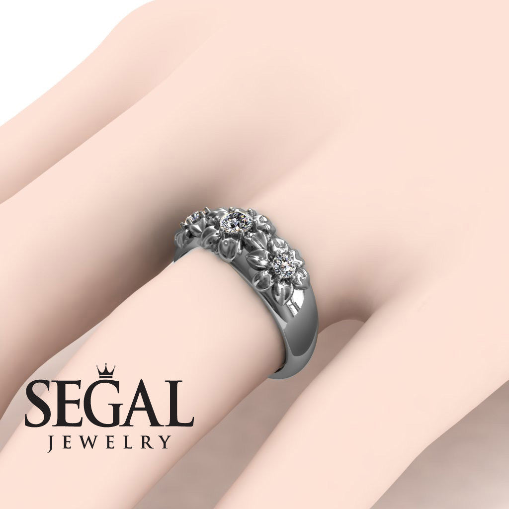 Three Stones And Flowers Diamond Ring- Sarah no. 3
