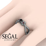 The Two Branch Flowers Black Diamond Ring- Annabelle no. 6