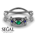 The Two Branch Flowers Green Emerald Ring- Annabelle no. 12