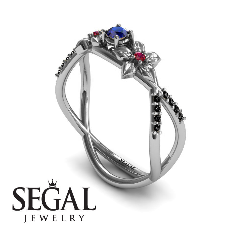 The Two Branch Flowers Blue Sapphire Ring- Annabelle no. 9