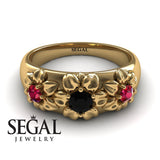 Three Stones And Flowers Black Diamond Ring- Sarah no. 10