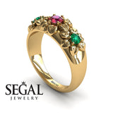Three Stones And Flowers Ruby Ring- Sarah no. 7
