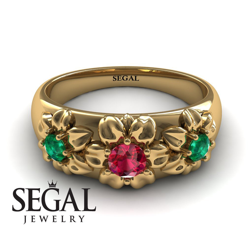 Three Stones And Flowers Rubby Ring- Sarah no. 7