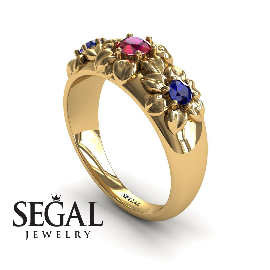Three Stones And Flowers Ruby Ring- Sarah no. 4