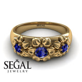 Three Stones And Flowers Blue Sapphire Ring- Sarah no. 13
