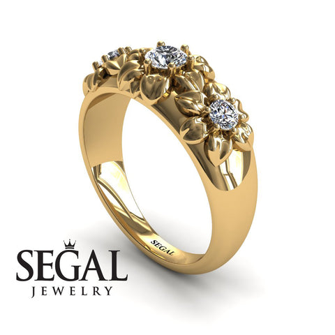 Three Stones And Flowers Diamond Ring- Sarah no. 1