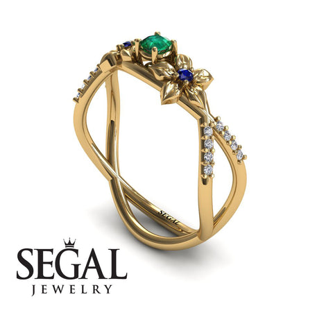The Two Branch Flowers Green Emerald Ring- Annabelle no. 10