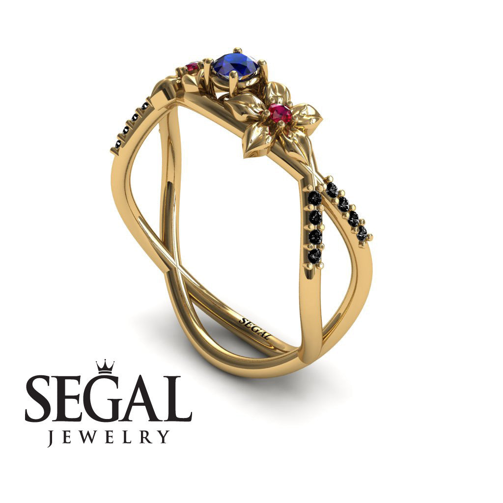 The Two Branch Flowers Blue Sapphire Ring- Annabelle no. 7
