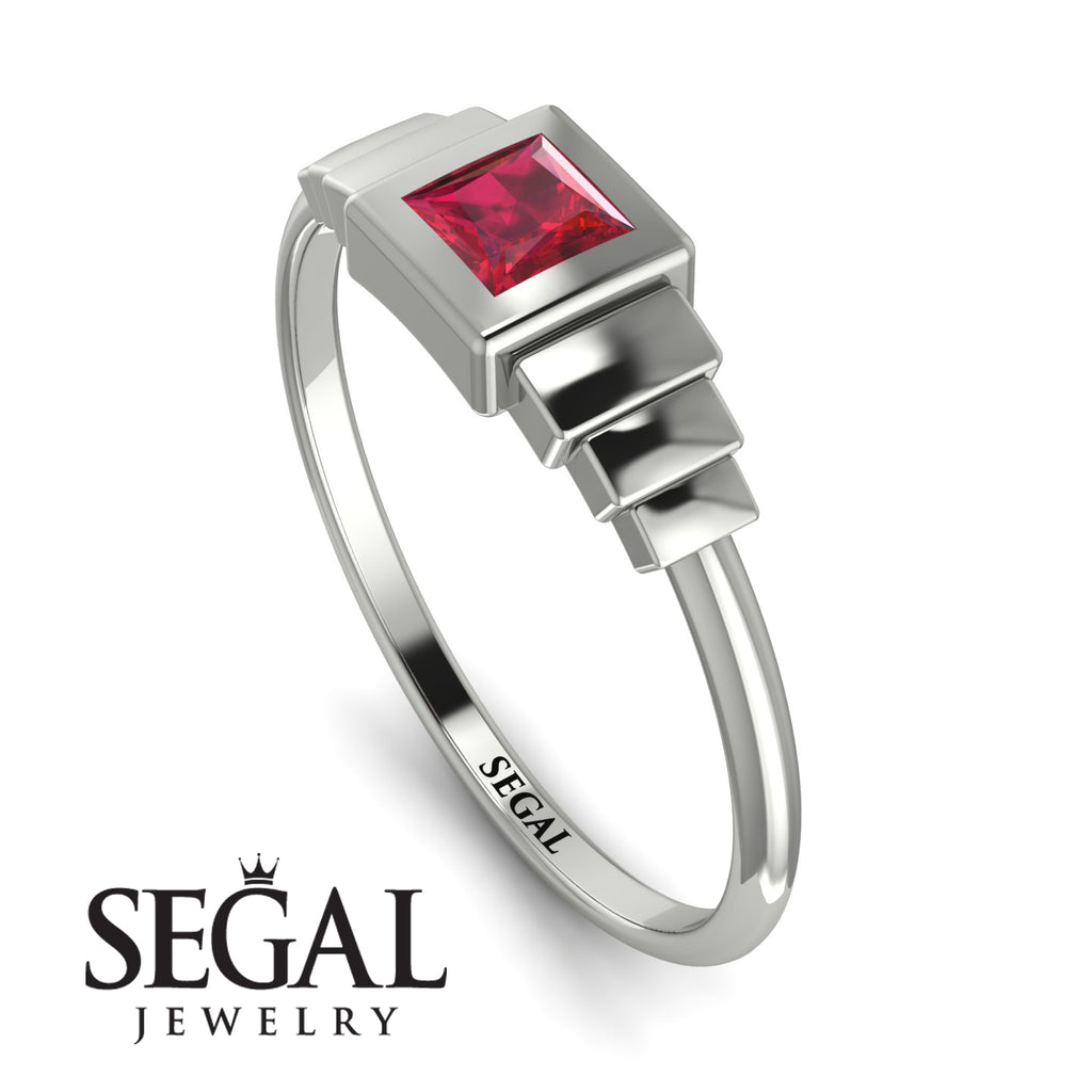 Geometric Princess Cut Ruby Ring - Everleigh No. 12