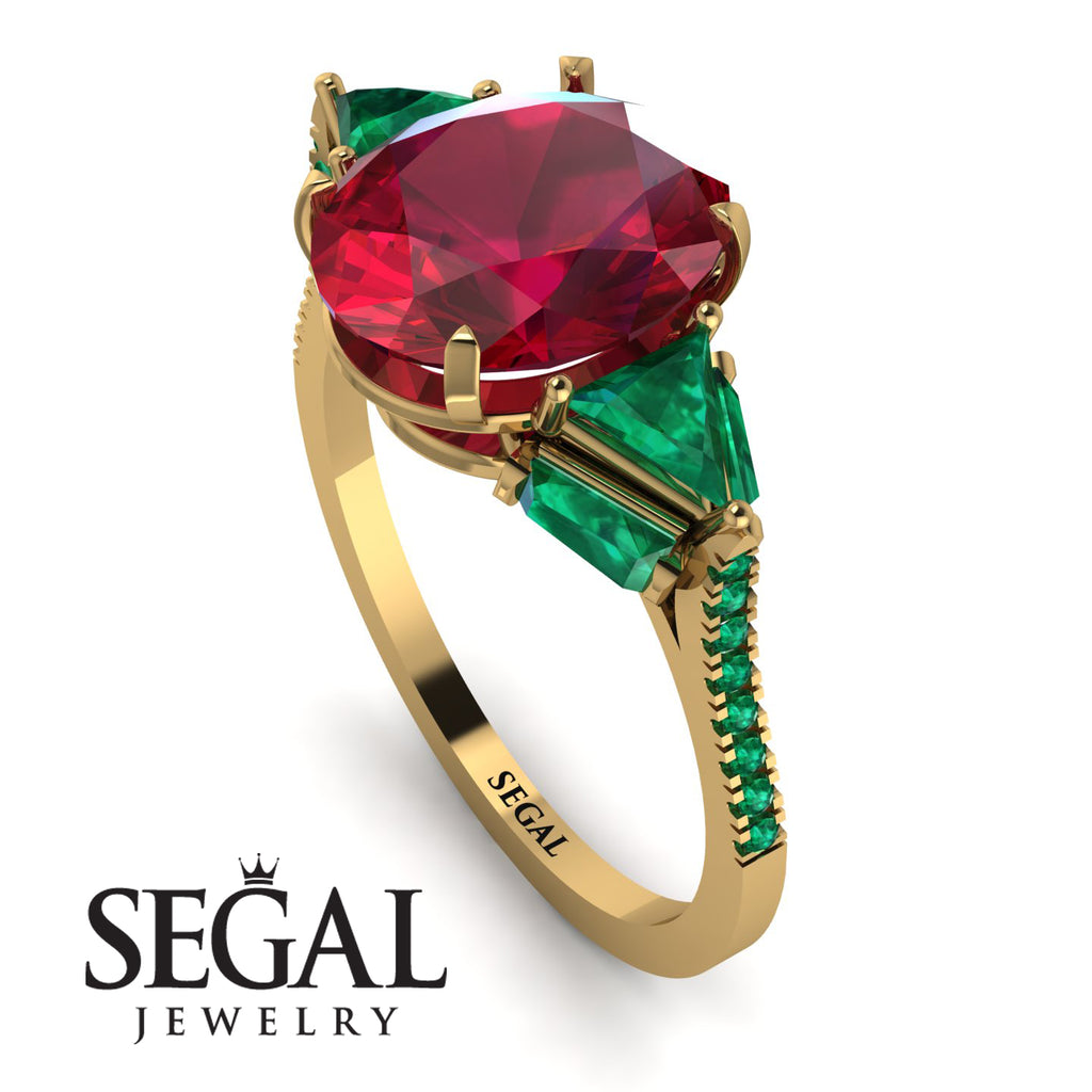 Glamorous Ruby Oval Hidden Diamonds Ring - Rosalie No. 25
