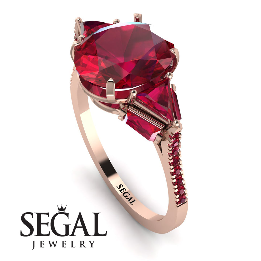Glamorous Ruby Oval Hidden Diamonds Ring - Rosalie No. 56