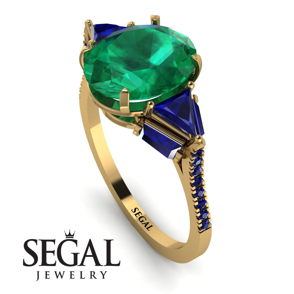 Glamorous Emerald Oval Hidden Diamonds Ring - Rosalie No. 64