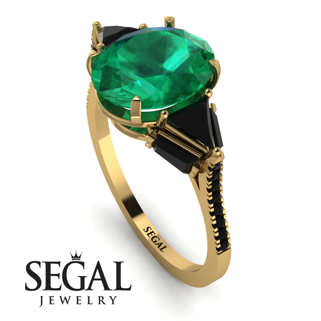 Glamorous Emerald Oval Hidden Diamonds Ring - Rosalie No. 34