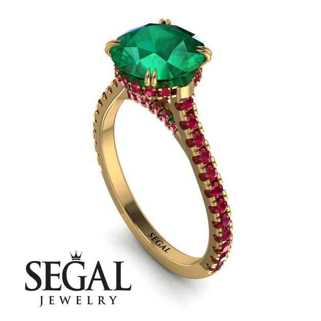 Hidden Diamond Double Cat Claw Prongs Emerald Ring