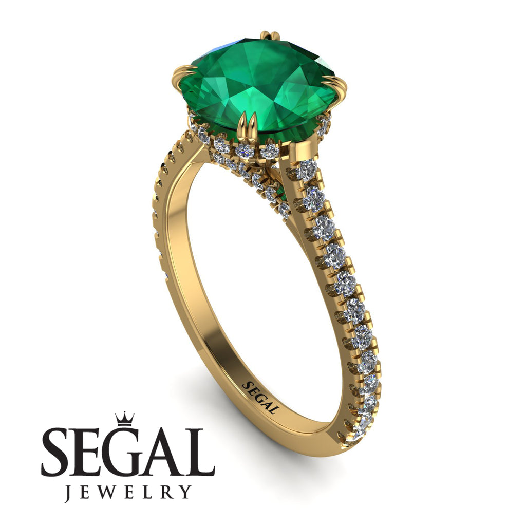 Hidden Diamond Double Cat Claw Prongs Emerald Ring - Hazel No. 4