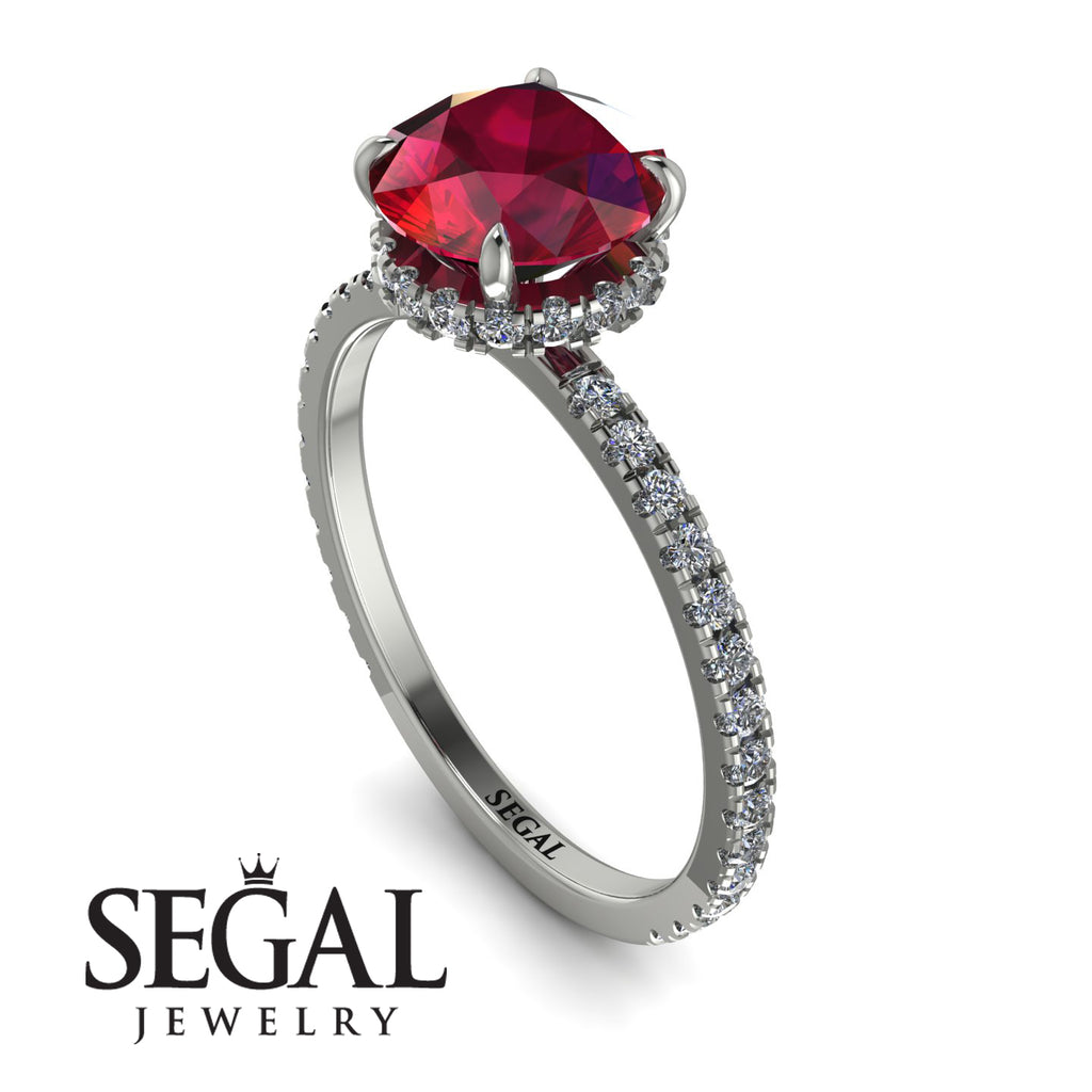 Hidden Diamond Round Ruby Cat Claw Engagement Ring - Aurora No. 12