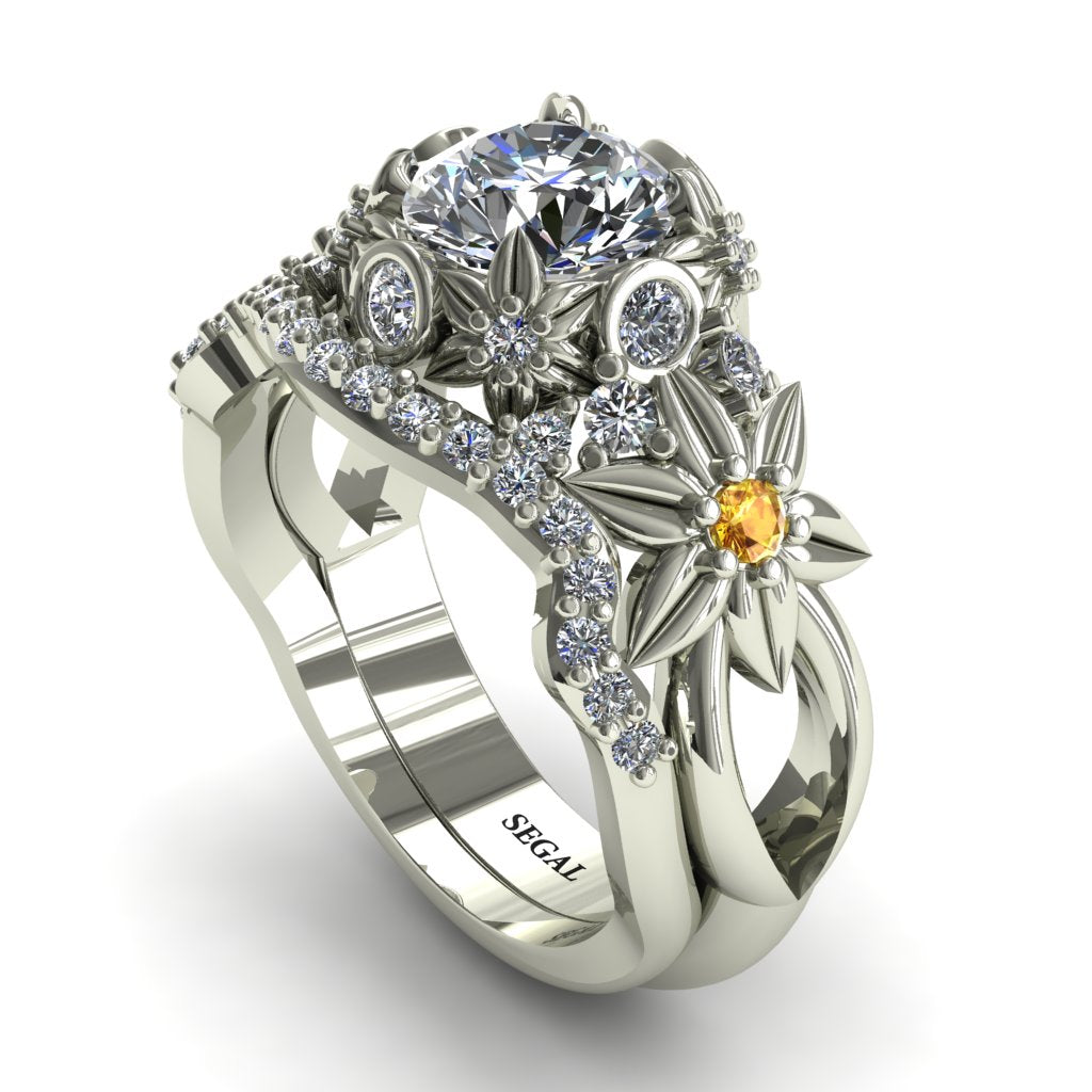 Yellow Sapphire Flowers And Branches Bridal Set Diamond Ring - Katherine no. 4