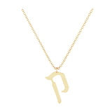 Kof - Hebrew Alef-Bet letter diamond Necklace - Kof letter