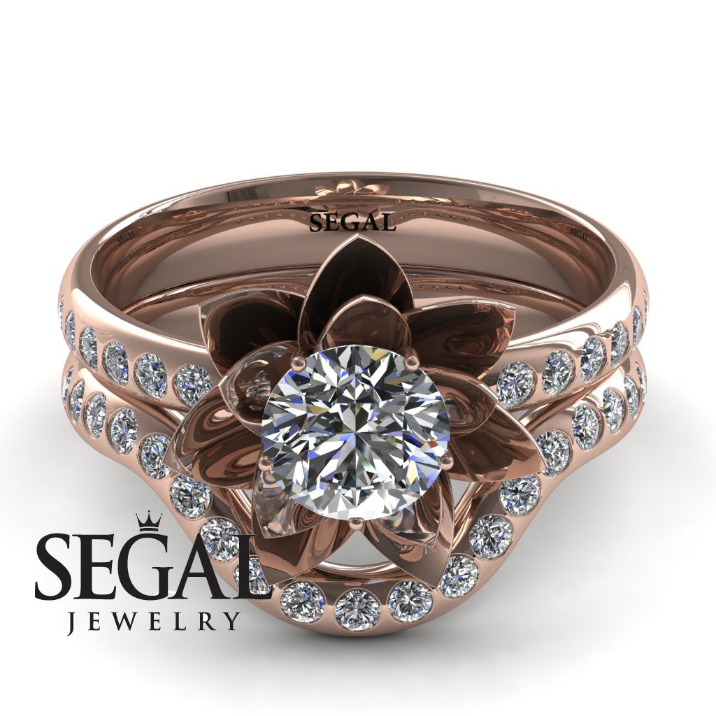 Lotus Bridal Set Ring 14k Rose Gold 05 Carat Round Cut Diamond
