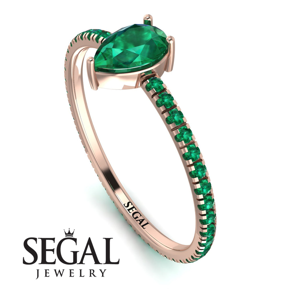 Pear Emerald Ring With Micro Pave - Taylor No. 20