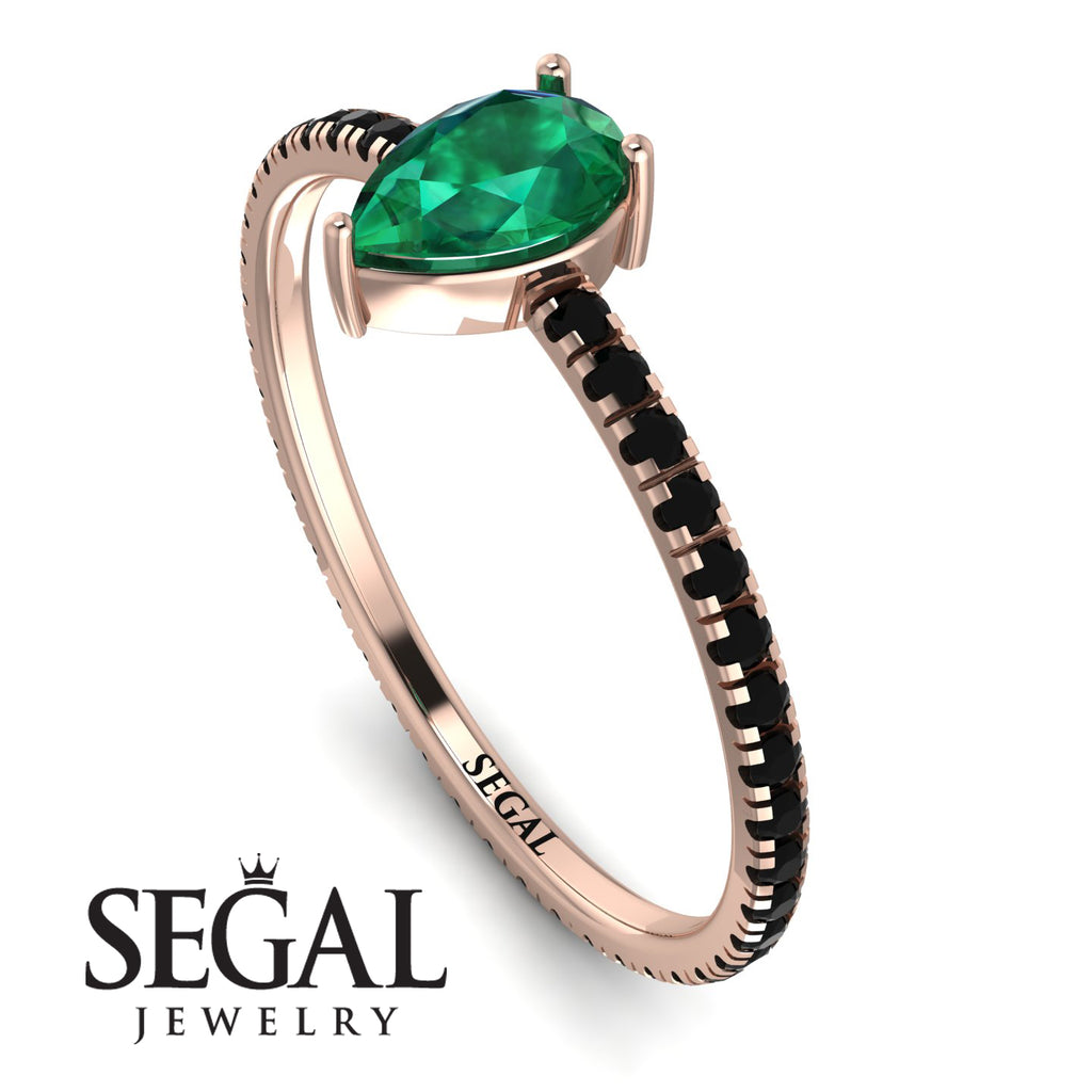 Pear Emerald Ring With Micro Pave - Taylor No. 35