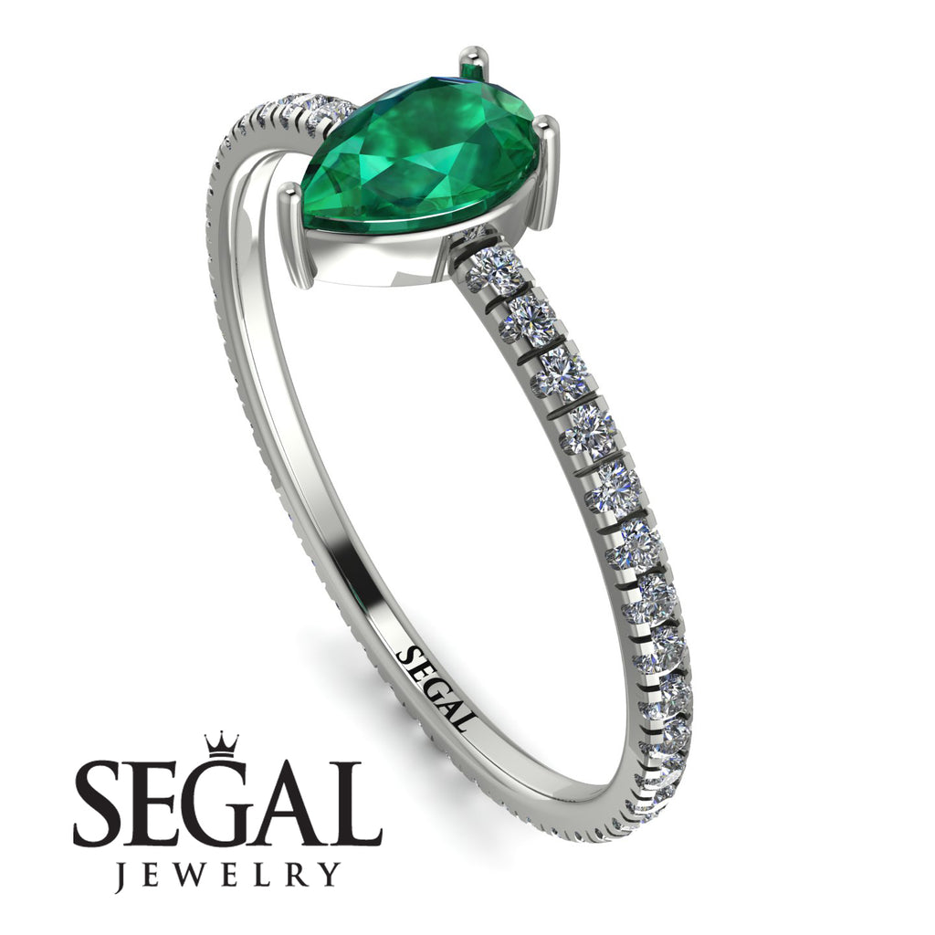Pear Emerald Ring With Micro Pave - Taylor No. 6