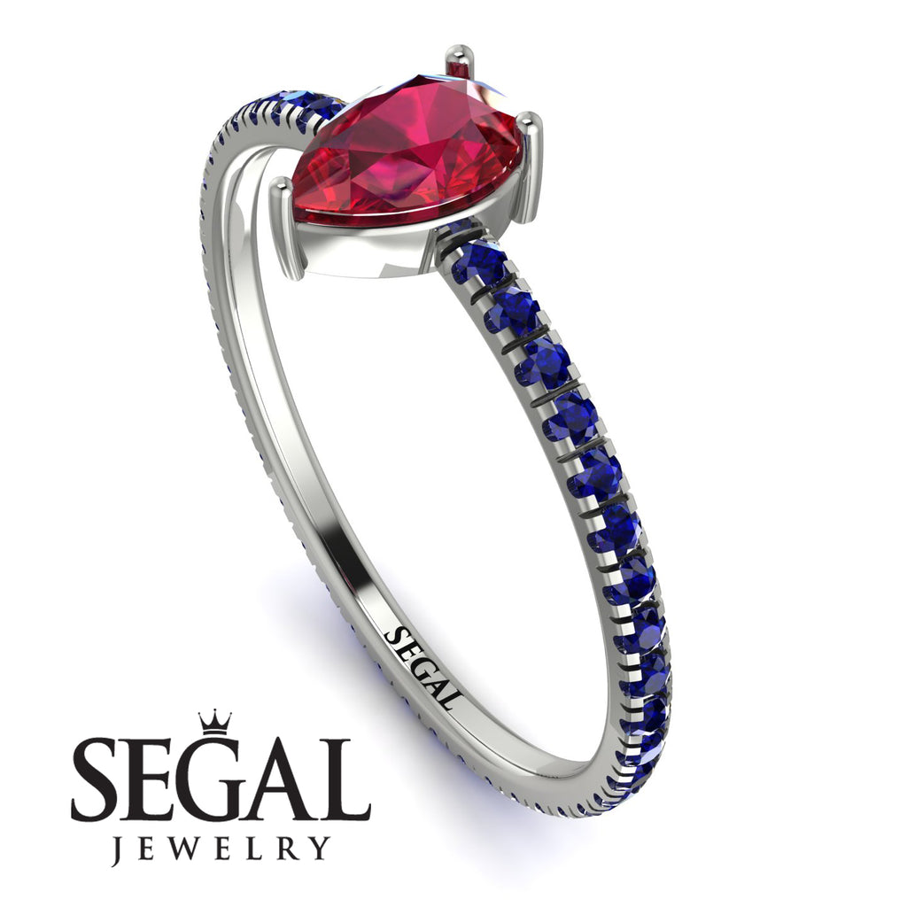 Pear Ruby Ring With Micro Pave - Taylor No. 72