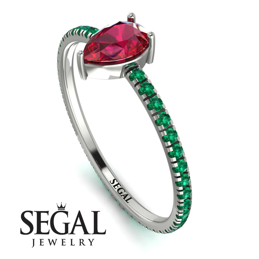Pear Ruby Ring With Micro Pave - Taylor No. 27