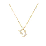 Pey - Hebrew Alef-Bet letter diamond Necklace - Pey letter