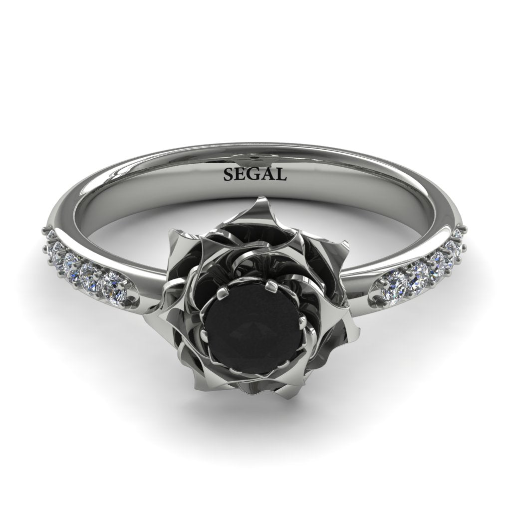 rose flower black diamond ring