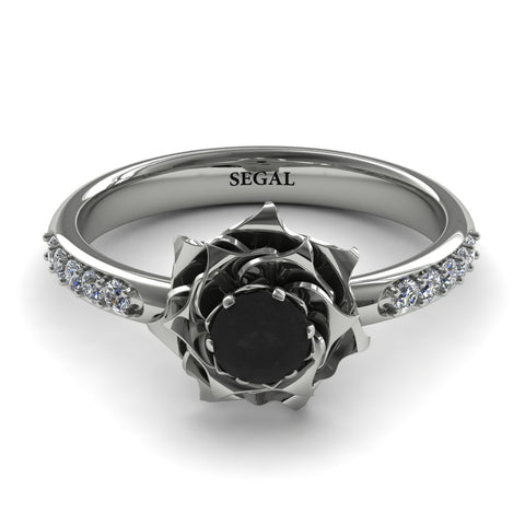 A lady's Rose Black Diamond Ring - Elena no. 16