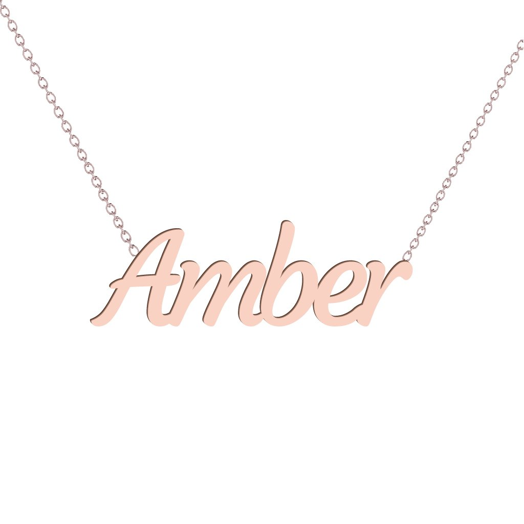 Gold Name Necklace - Amber
