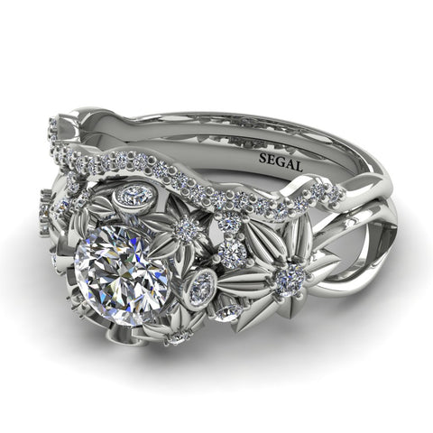 Wedding Band Flowers And Branches Bridal Set Diamond Ring - Katherine no. 3