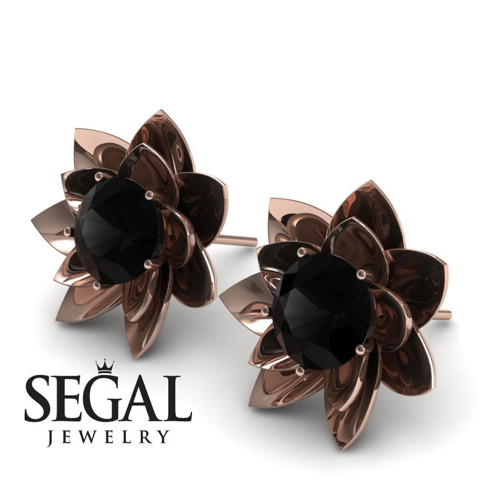 Lotus Flower Black Diamond Earrings - Lotus no. 5