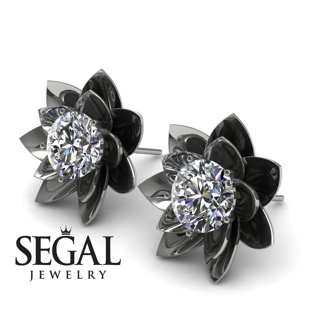 Lotus Flower Diamond Earrings - Lotus no. 3