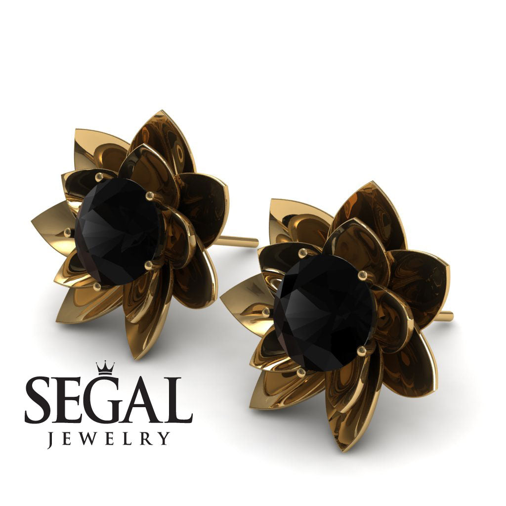 Lotus Flower Black Diamond Earrings - Lotus no. 4