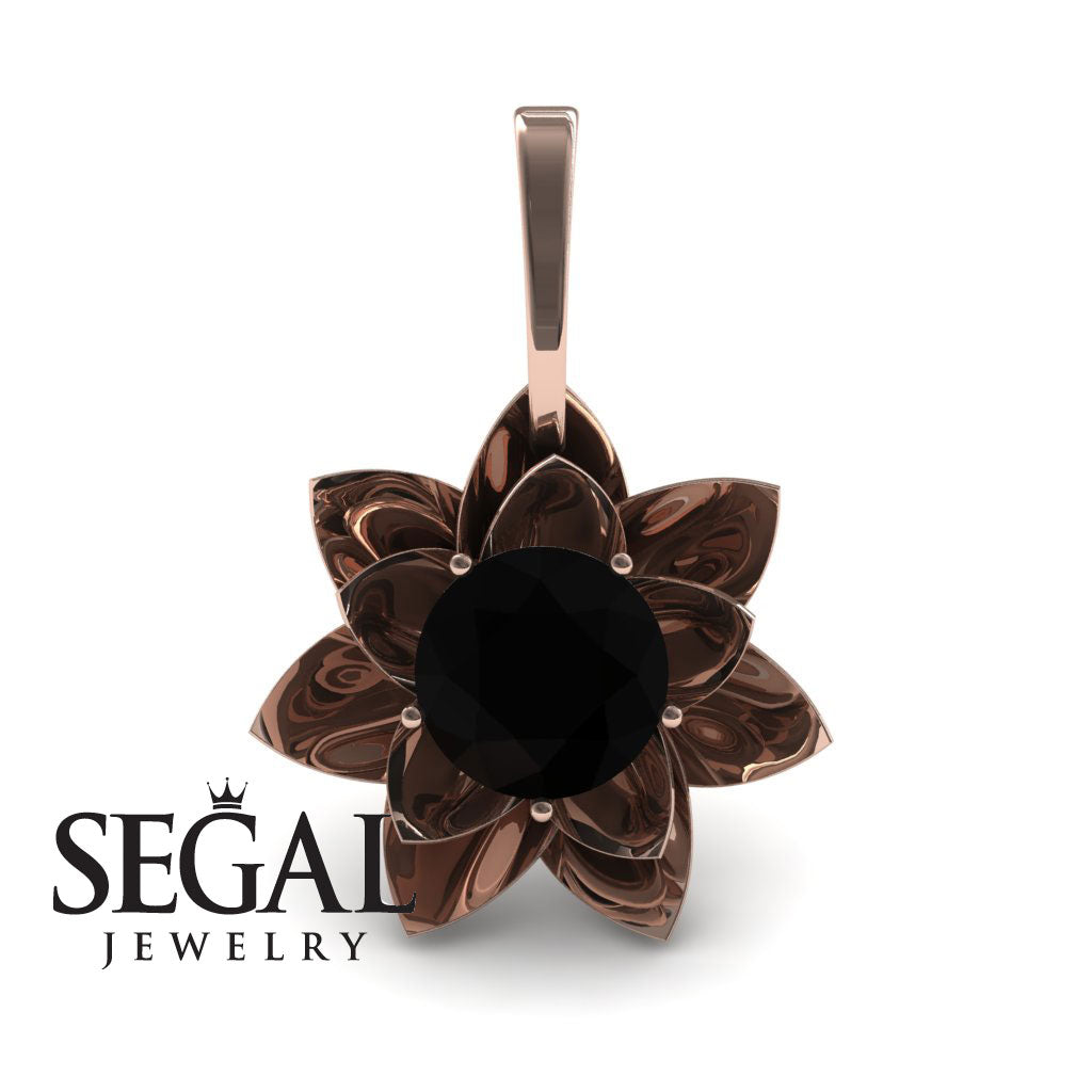 Lotus Flower Black Diamond Pendant - Lotus no. 5