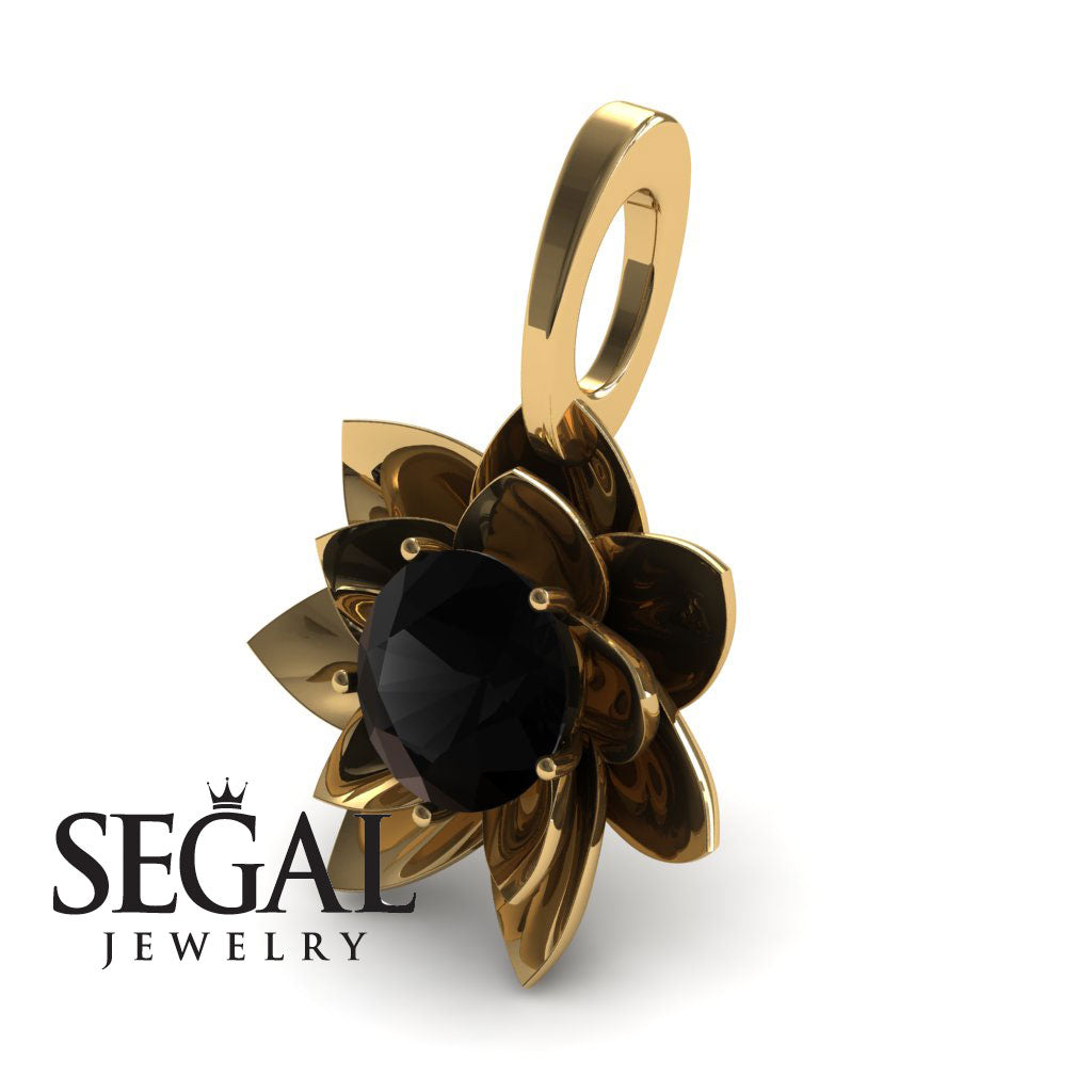 Lotus Flower Black Diamond Pendant - Lotus no. 4