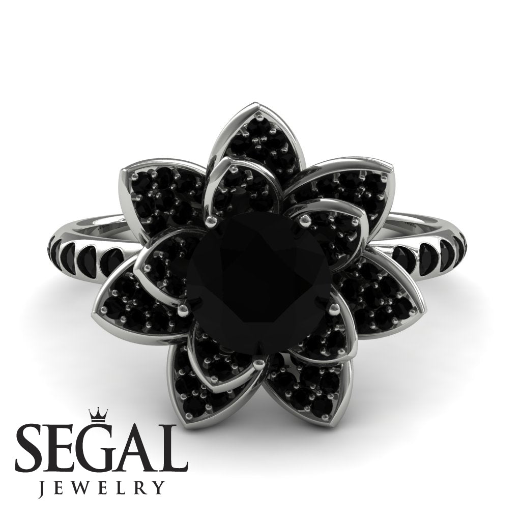 Lotus Black Diamond Engagement Ring - Princess Lotus no. 6