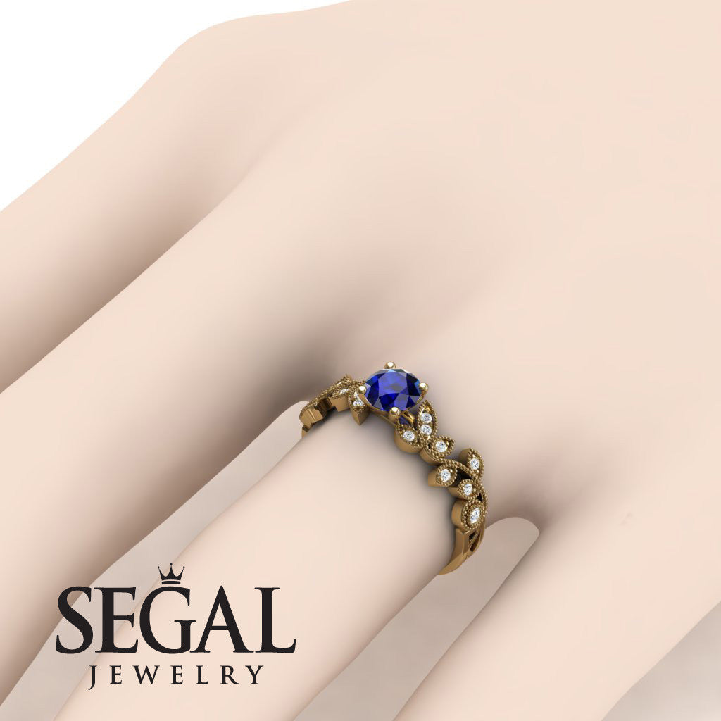 Leafs Falling On Me Blue Sapphire Ring- Alice no. 7