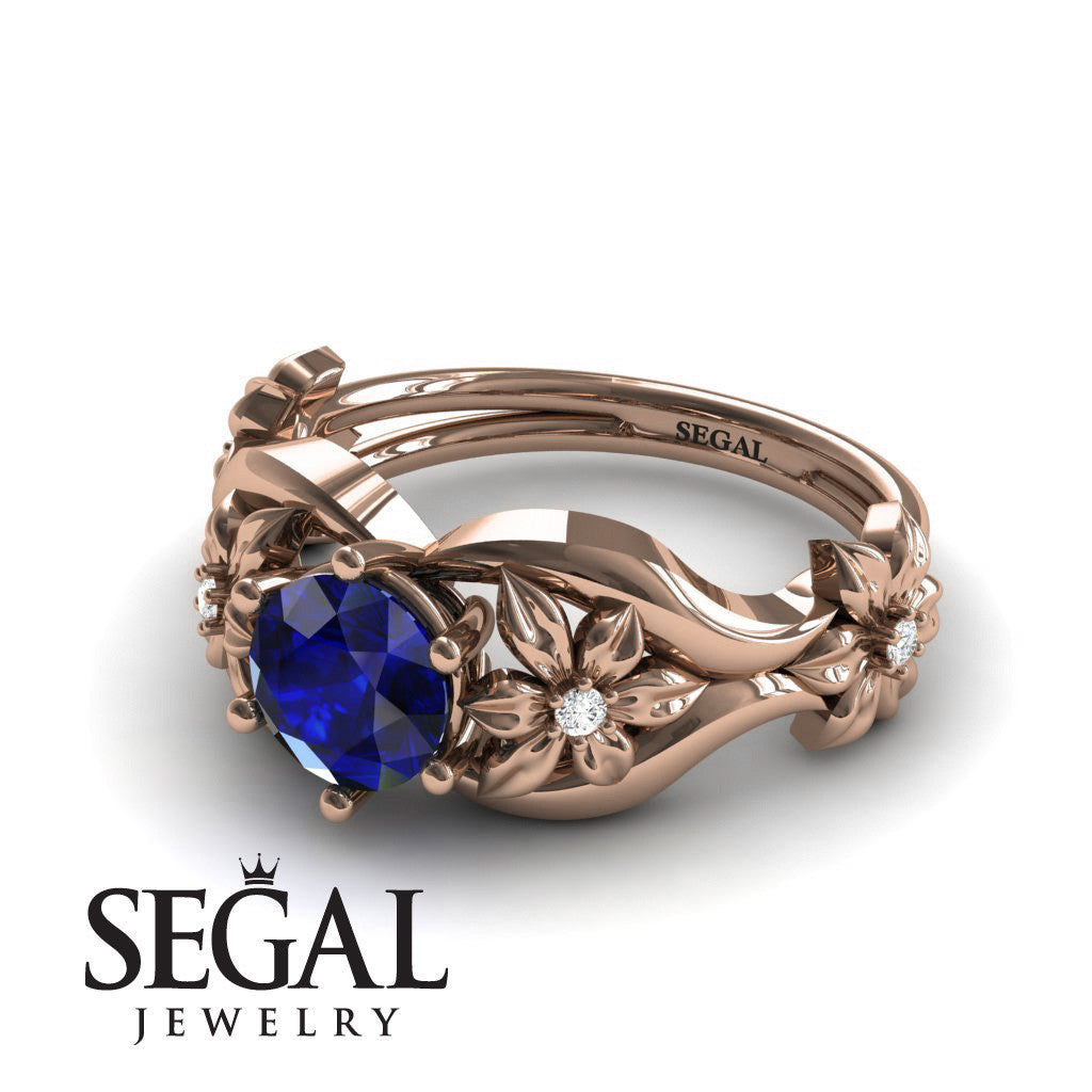The 4th Season Flower Ring Blue Sapphire Ring- Lauren no. 5